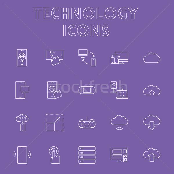 技術 ベクトル 光 紫色 アイコン ストックフォト © RAStudio