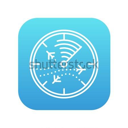 Radar scherm vliegtuigen lijn icon web Stockfoto © RAStudio