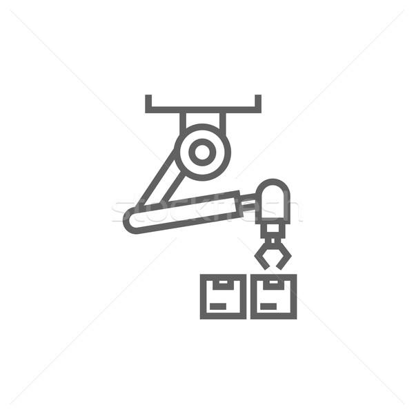 Robotachtige verpakking lijn icon hoeken web Stockfoto © RAStudio