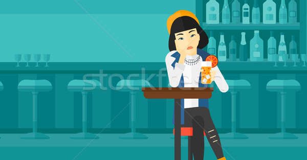 Woman sitting at bar. Stock photo © RAStudio