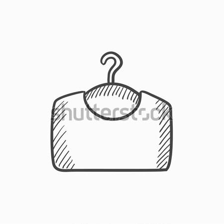 Pulóver vállfa rajz ikon háló mobil Stock fotó © RAStudio