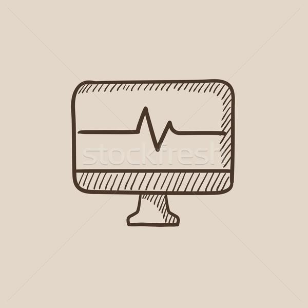 Bicie serca monitor szkic ikona internetowych komórkowych Zdjęcia stock © RAStudio