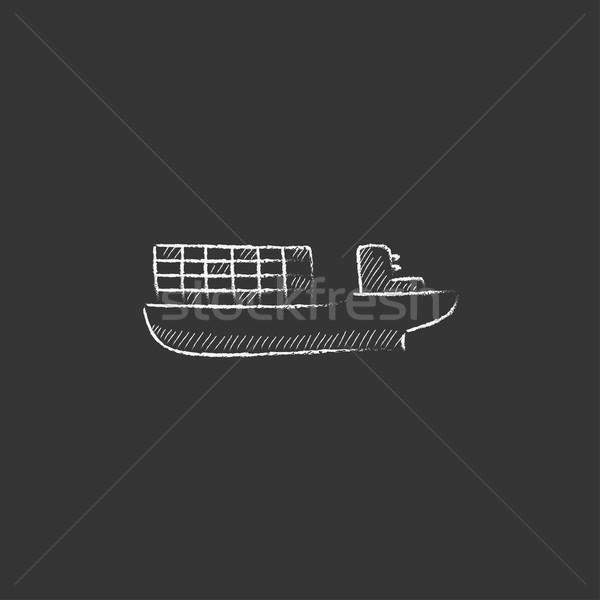 Fret porte-conteneurs craie icône dessinés à la main Photo stock © RAStudio