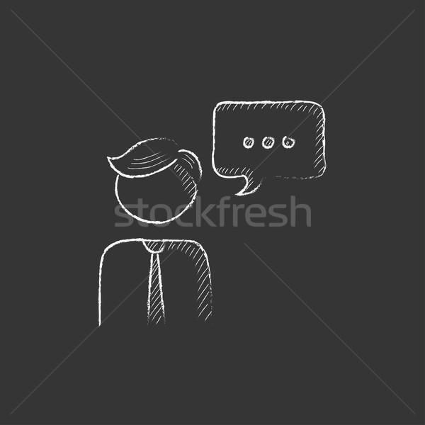 Man with speech square. Drawn in chalk icon. Stock photo © RAStudio