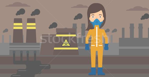 Kobieta chemicznych garnitur toksyczny atmosfera Zdjęcia stock © RAStudio