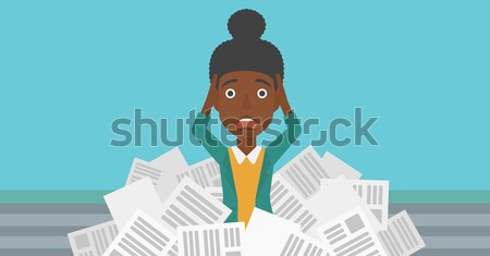 Woman in stack of newspapers. Stock photo © RAStudio