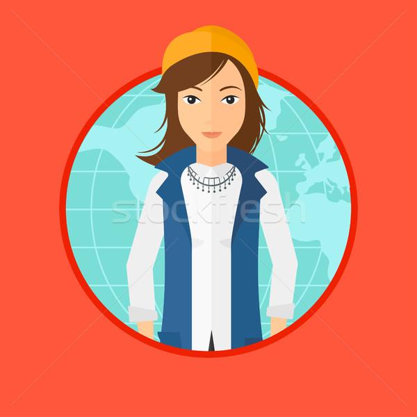 Zakenvrouw wereldwijde business permanente wereldkaart vector Stockfoto © RAStudio