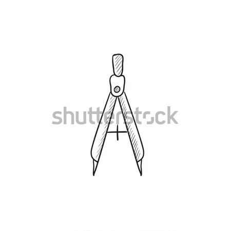 Iránytű rajz ikon vektor izolált kézzel rajzolt Stock fotó © RAStudio