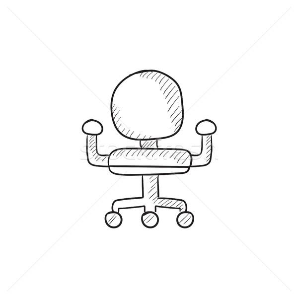 Bürostuhl skizze  Bürostuhl · Skizze · Symbol · Vektor · isoliert · Hand · gezeichnet ...