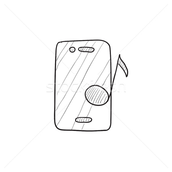 Phone with musical note sketch icon. Stock photo © RAStudio