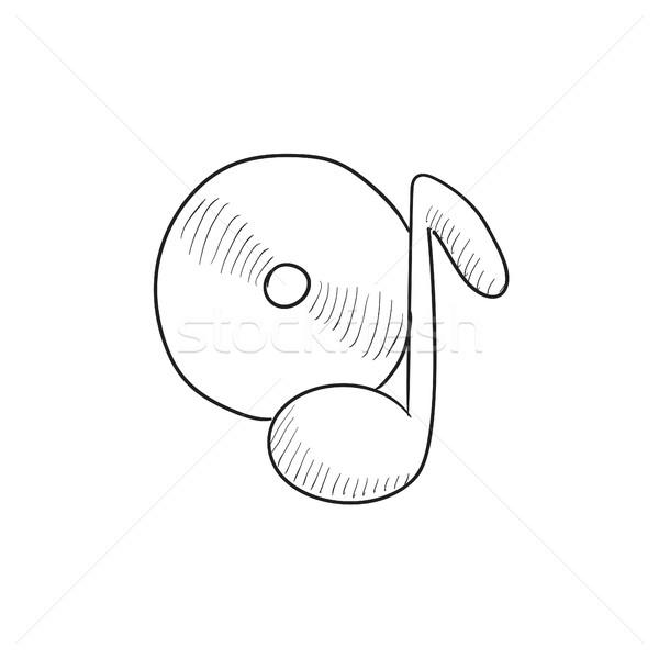 Uwaga dysku szkic ikona wektora odizolowany Zdjęcia stock © RAStudio