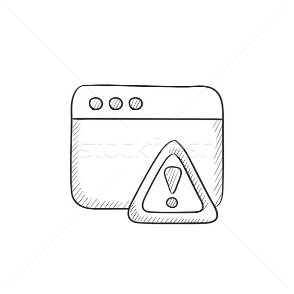 Böngésző ablak figyelmeztető jel rajz ikon vektor Stock fotó © RAStudio