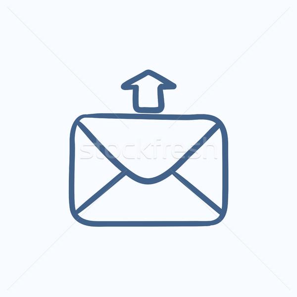 E-mail kroki ikon vektör yalıtılmış Stok fotoğraf © RAStudio