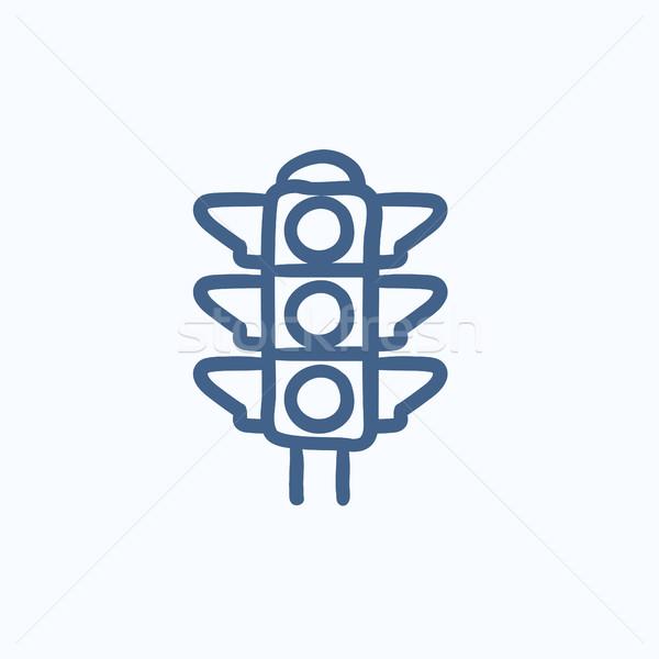 ストックフォト: 信号 · スケッチ · アイコン · ベクトル · 孤立した · 手描き