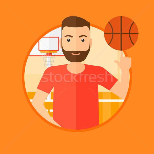 Kosárlabdázó labda hipszter férfi szakáll kosárlabda Stock fotó © RAStudio