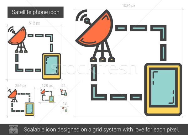 Satelitarnej telefonu line ikona wektora odizolowany Zdjęcia stock © RAStudio