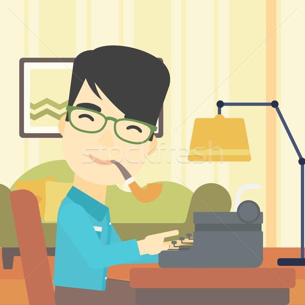 Jornalista trabalhando retro máquina de escrever asiático escrita Foto stock © RAStudio
