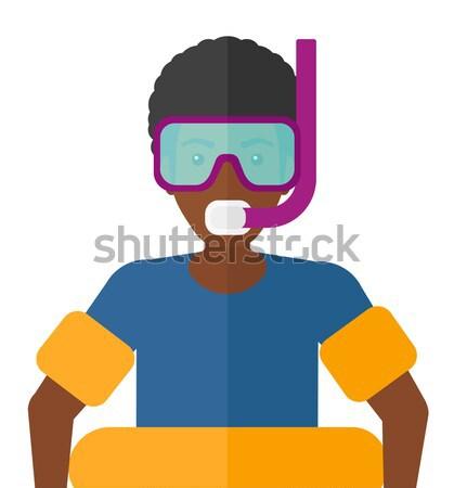 Człowiek snorkeling wyposażenie plaży maska rur Zdjęcia stock © RAStudio