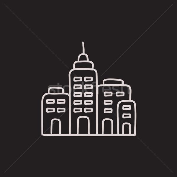 Yerleşim binalar kroki ikon vektör yalıtılmış Stok fotoğraf © RAStudio