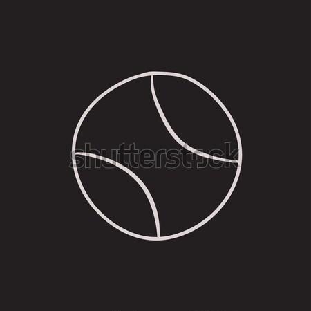 Piłka tenisowa szkic ikona wektora odizolowany Zdjęcia stock © RAStudio