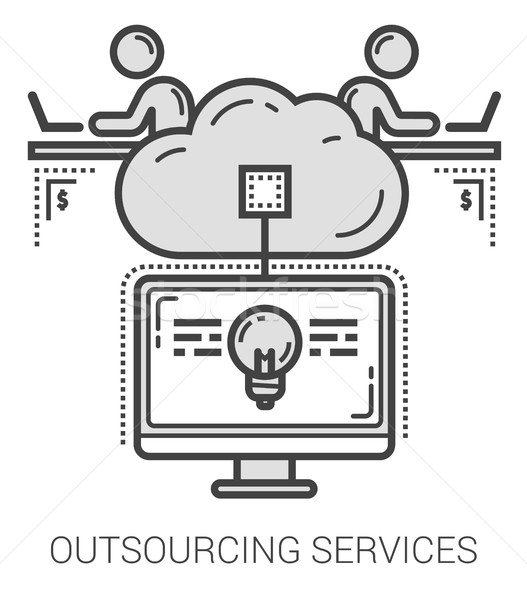 Outsourcing services line icons. Stock photo © RAStudio