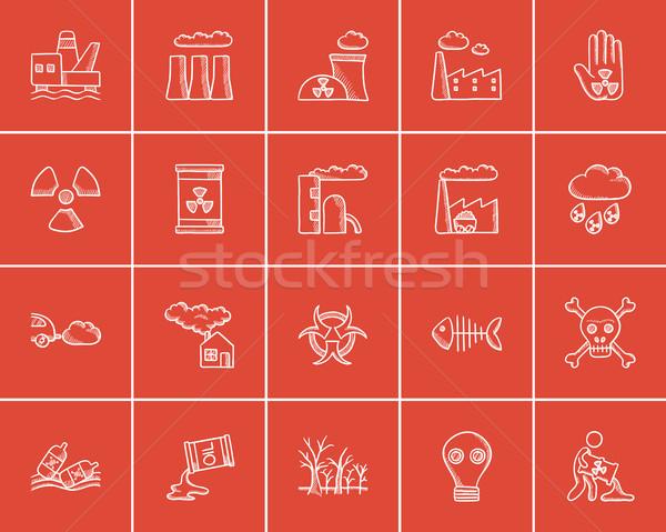 Ecology sketch icon set. Stock photo © RAStudio