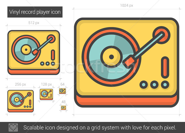 Vinyl record player line icon. Stock photo © RAStudio