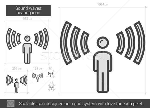 Stock photo: Sound waves hearing line icon.