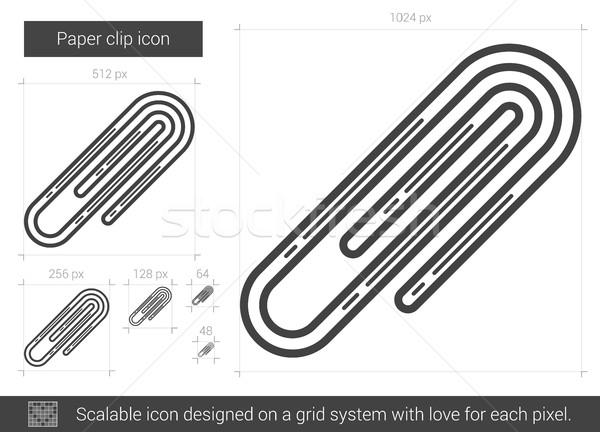 скрепку линия икона вектора изолированный белый Сток-фото © RAStudio