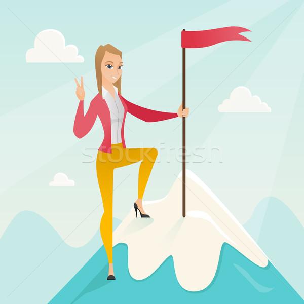 Leistung Business Erfolg business woman erreicht Flagge Stock foto © RAStudio