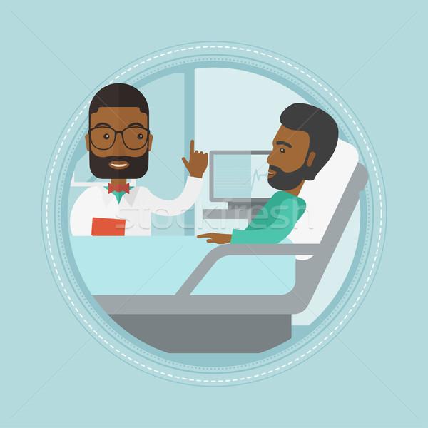 Stock fotó: Orvos · beteg · afrikai · kórház · mutat · ujj
