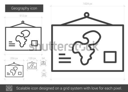 Coğrafya hat ikon vektör yalıtılmış beyaz Stok fotoğraf © RAStudio