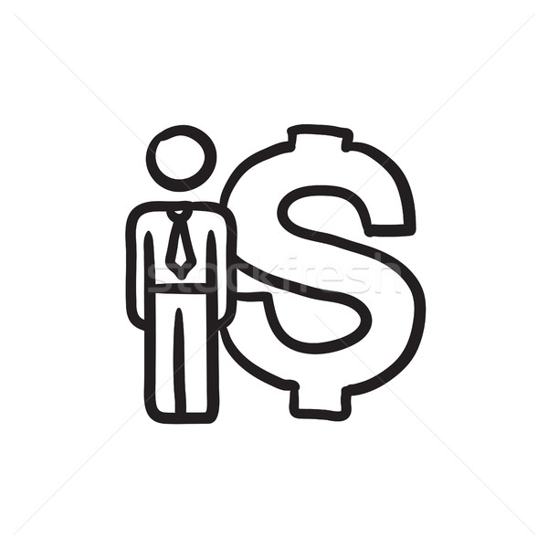 Businessman stands near dollar symbol sketch icon. Stock photo © RAStudio