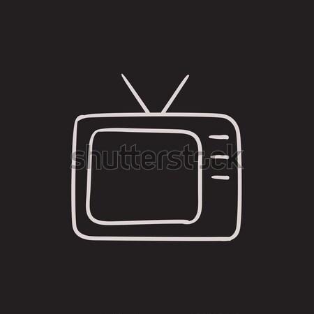 Retro television sketch icon. Stock photo © RAStudio