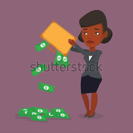 Bankrott heraus Geld Aktentasche depressiv business woman Stock foto © RAStudio