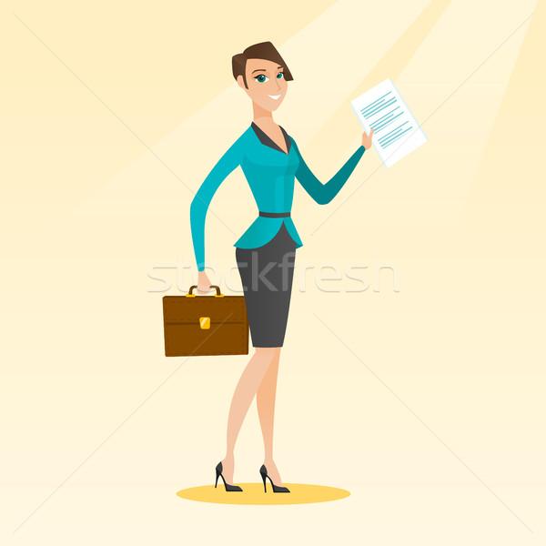 Happy business woman running vector illustration. Stock photo © RAStudio