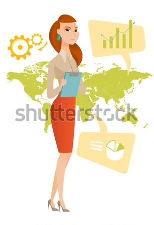 Business woman arbeiten global Business Aufnahme Geschäftsfrau stehen Stock foto © RAStudio