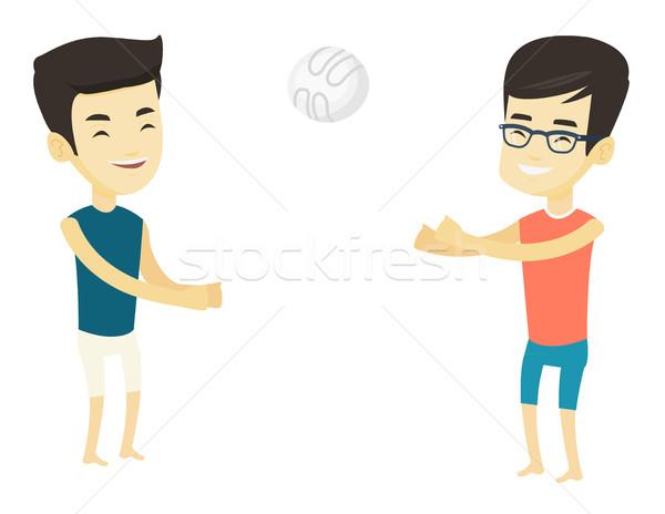 двое мужчин играет пляж волейбол два Сток-фото © RAStudio