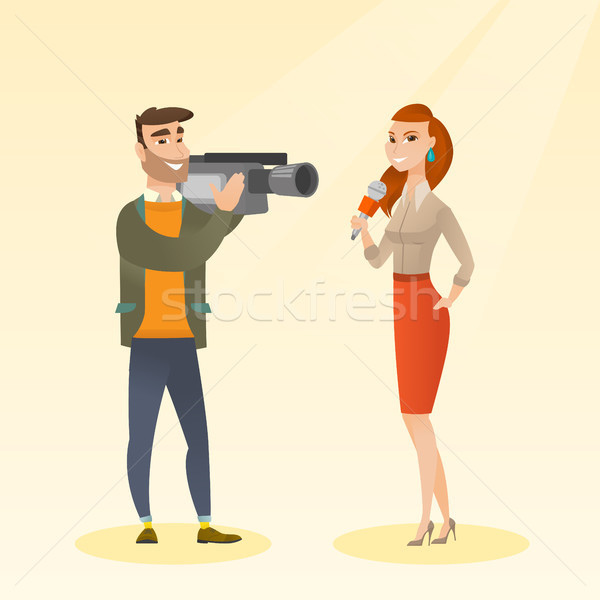Stock photo: TV reporter and operator vector illustration.