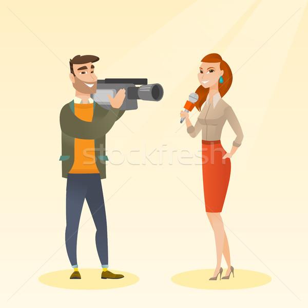 Tv journaliste opérateur professionnels micro Photo stock © RAStudio