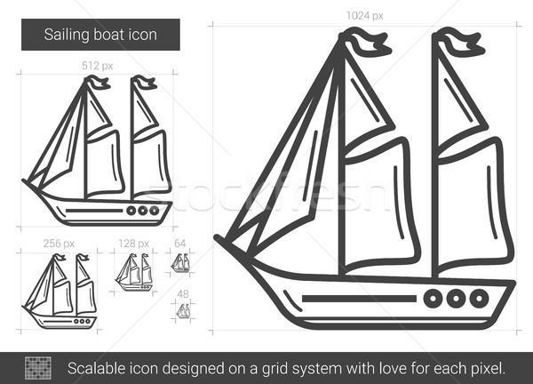 Voile bateau ligne icône vecteur isolé Photo stock © RAStudio