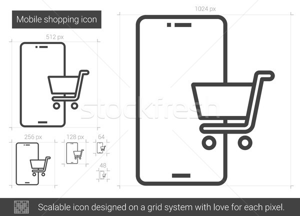Stock fotó: Mobil · vásárlás · vonal · ikon · vektor · izolált