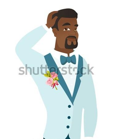 Young african-american groom laughing. Stock photo © RAStudio
