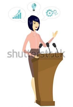 Stock photo: Caucasian politician giving a speech from tribune.