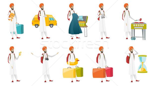 Muslim traveler vector illustrations set. Stock photo © RAStudio