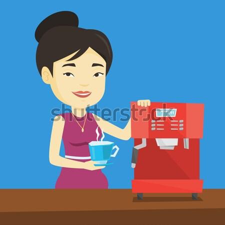 Woman making coffee vector illustration. Stock photo © RAStudio