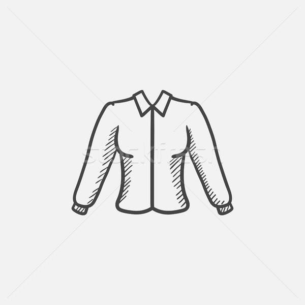 Női blúz rajz ikon háló mobil Stock fotó © RAStudio