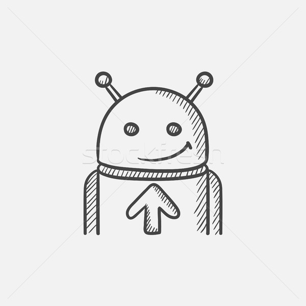 Android arrow up sketch icona web Foto d'archivio © RAStudio
