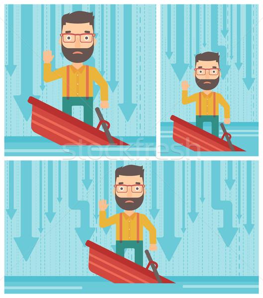 Zakenman permanente zinken boot bang Stockfoto © RAStudio