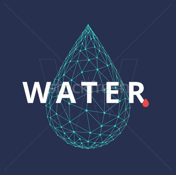 Polygon water drop isolated on blue background. Stock photo © RAStudio